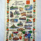 Souvenir de Normandie Normandy cotton towel sites tastes costumes unused vintage 1063vf
