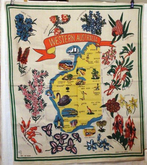 Western Australia souvenir tablecloth linen bold colorful unused vintage 1081vf