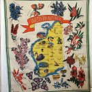 Western Australia souvenir tablecloth linen bold colorful unused vintage 1081vf