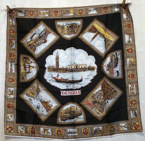 Venezia Venice Italy souvenir scarf acetate satin classic unused vintage 1082vf