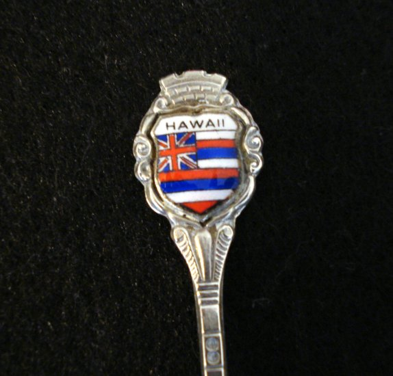 Old Hawaii sterling silver souvenir spoon with cloisonne Union Jack 1085vf