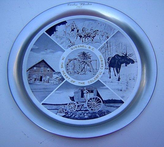 1968 Tin souvenir tray Quesnel BC Cariboo Wheelers vintage 1106vf