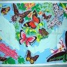 Malaysian Butterflies cotton tea towel vibrant vintage 1107vf