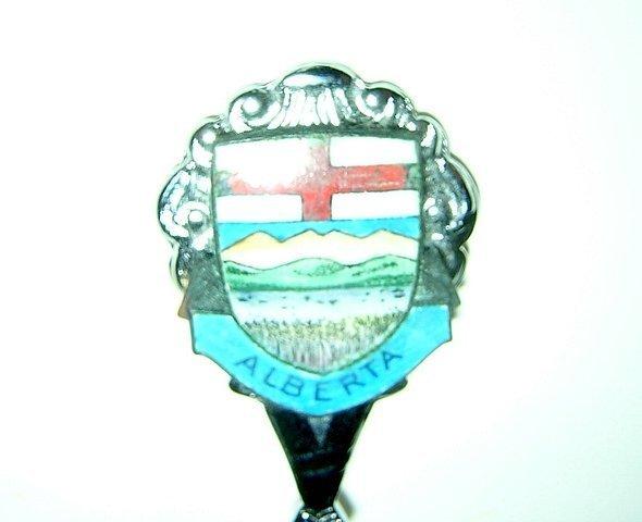 Vegreville Alberta souvenir spoon rhodium plated 1109vf