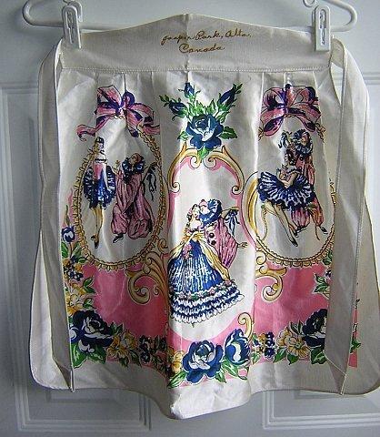 Antique satin souvenir apron Jasper Park, Alberta, Canada 1114vf