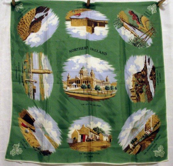 Northern Ireland vintage souvenir scarf acetate shamrocks 1116vf
