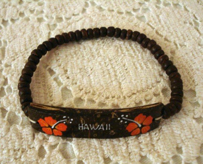 Coconut shell bracelet souvenir of Hawaii stretch beads hibiscus flower 1126vf