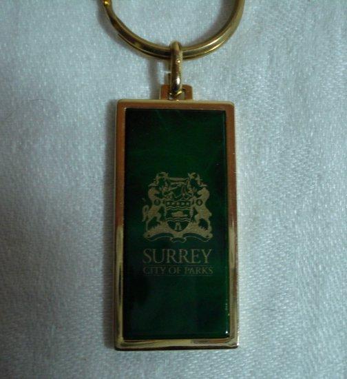 Surrey City of Parks souvenir key ring gold plate green insert vintage advertising 1133vf