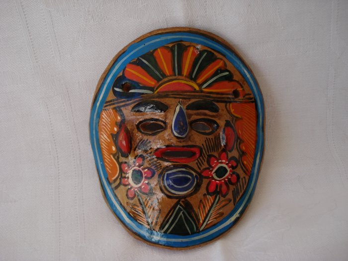 Puerta Valarta Mexico painted clay mask Aztec warrier 1989 vintage 1153vf