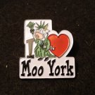 I Love heart Moo York tack back souvenir pin cow Statue of Liberty 1160vf