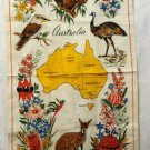 Australia map flowers wildlife souvenir towel linen colorful unused vintage by Neil  1162vf