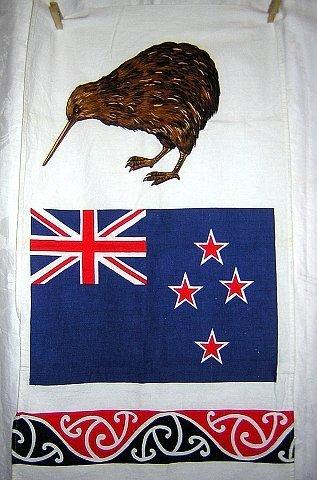 New Zealand souvenir towel flag and kiwi vintage 1172vf