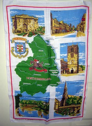 Morpeth Northumberland linen souvenir towel Ulster unused 1184vf
