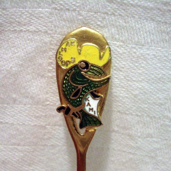 Kamloops Canada souvenir spoon Kami the carp in cowboy hat goldtone cloisonne 1186vf