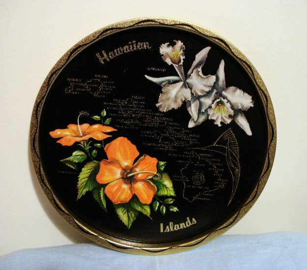 Hawaiian Islands souvenir state tray painted tin orchids hibiscus vintage 1198vf