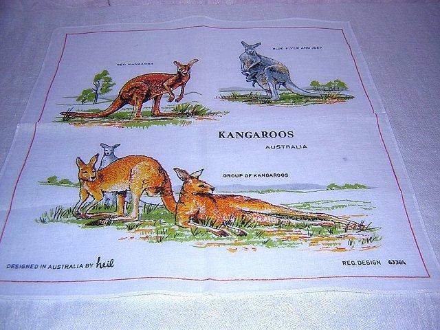 Kangaroos of Australia unused hanky by Neil great for kids or crafts 1201vf