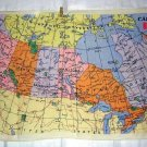 Map of Canada linen towel vintage hand printed colorful 1213vf