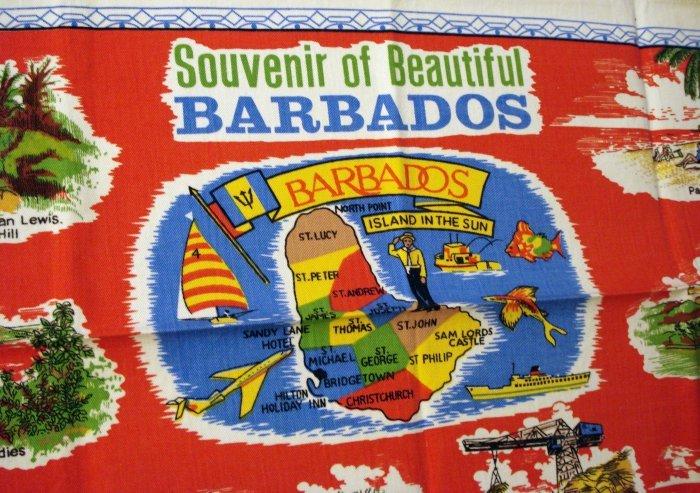 Vintage souvenir of Barbados cotton towel #2 red 1221vf