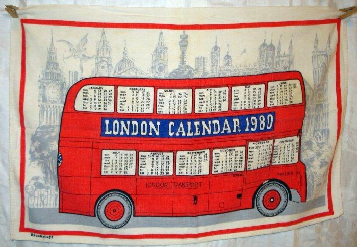 London double decker bus 1980 souvenir linen calendar towel Blackstaff 1222vf