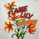 Flame Lily of Zimbabwe Africa tea towel unused vintage 1230vf