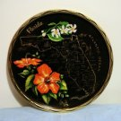 Florida painted tin souvenir tray black gold perfect vintage 1244vf
