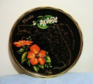 Florida painted tin souvenir tray black gold perfect vintage 1244vf