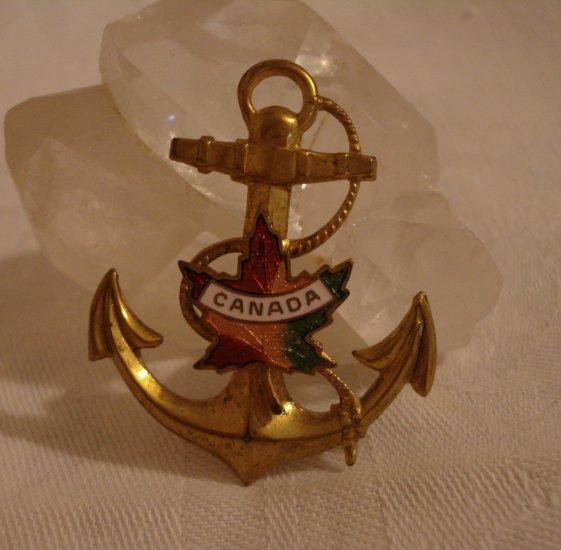 Ship's anchor souvenir pin Canada maple leaf  vintage 1253vf