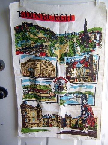 Scenes of Edinburgh linen souvenir towel Blackstaff excellent vintage 1258vf