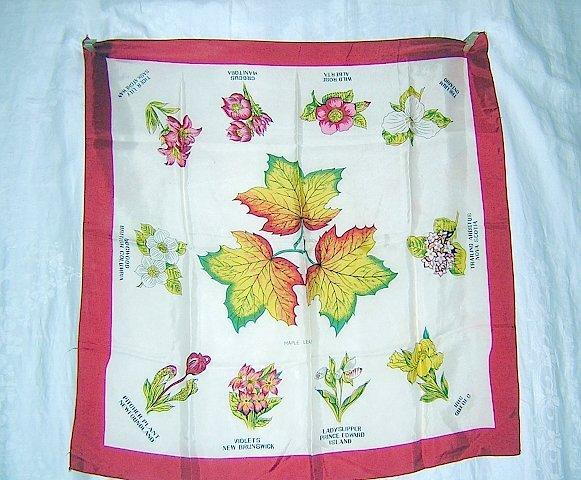 Provincial flowers of Canada souvenir scarf vintage acetate Maple leaf 1262vf
