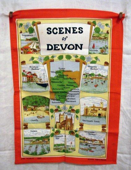 1982 Scenes of Devon souvenir towel cotton Clive Mayor unused vintage 1264vf