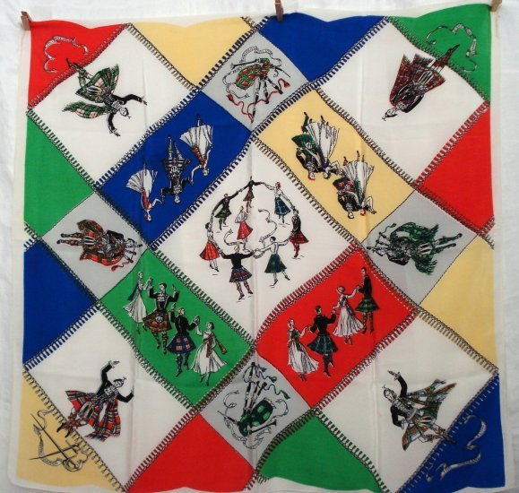 Scottish dancing large souvenir scarf or tablecloth mint vintage 1268vf