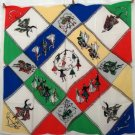 Scottish dancing large souvenir scarf or tablecloth mint vintage 1268vf
