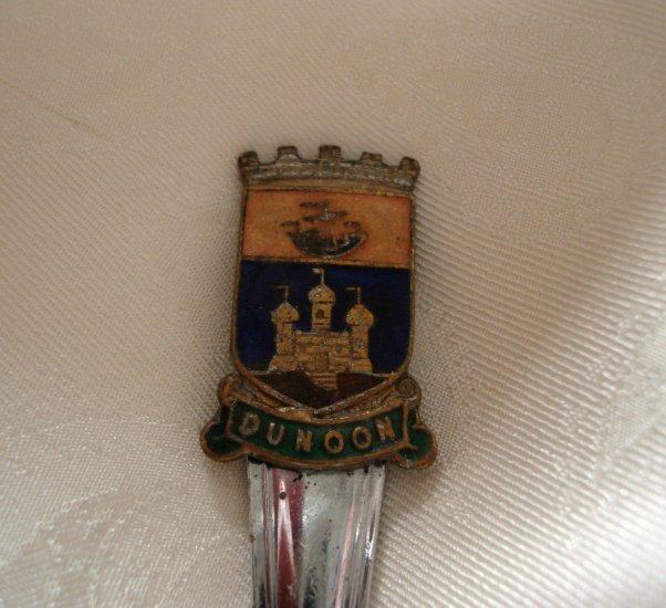 Dunoon Scotland souvenir sugar spoon chrome vintage 1281vf