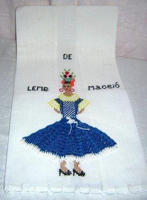 De Lemb Maceió souvenir towel ethnic dancer artisan made 1289vf