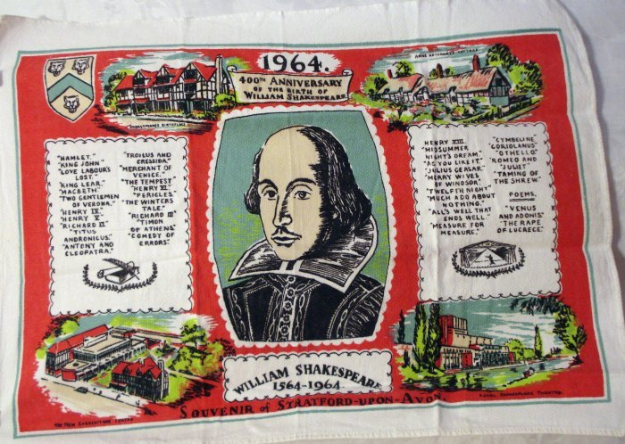 1964 400th Anniversary birth of William Shakespeare souvenir towel vintage linens1295vf