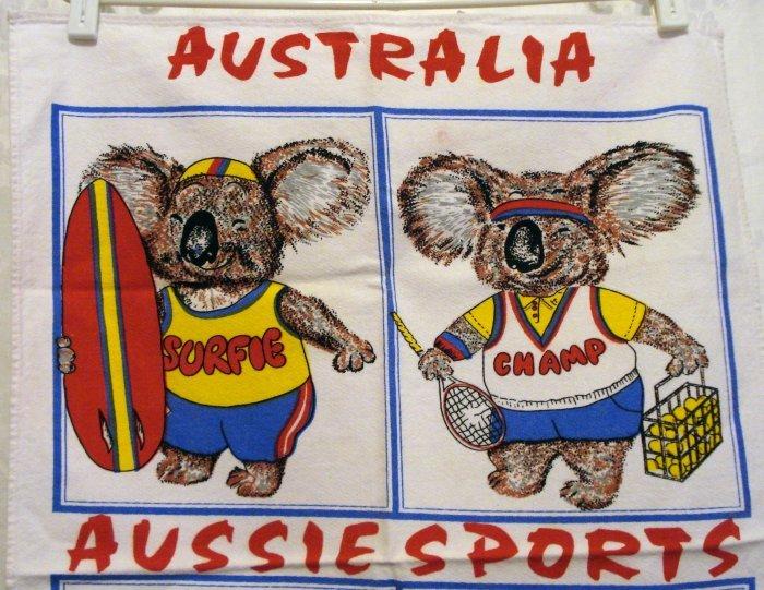 Aussie Sports Down Under souvenir towel koala bears vintage linens 1302vf
