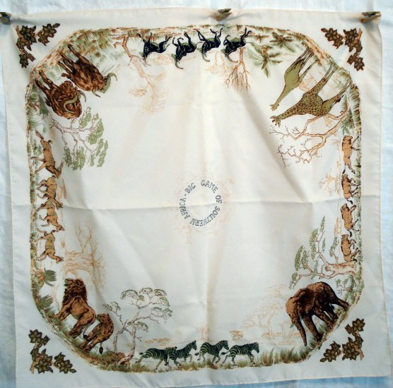 Big Game of Southern Africa safari souvenir scarf unused vintage 1305vf