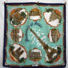 Souvenir de Paris scarf Roger L aqua background made Italy vintage 1316vf
