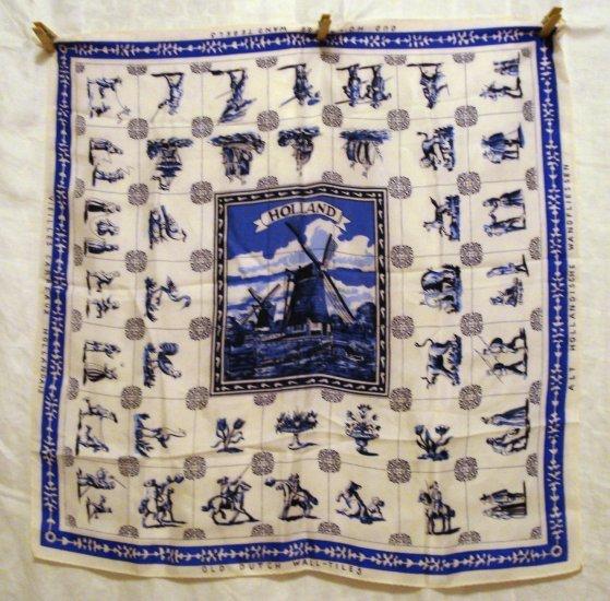 Old Dutch Wall Tiles vintage souvenir scarf of Holland Delft blue windmill center 1325vf