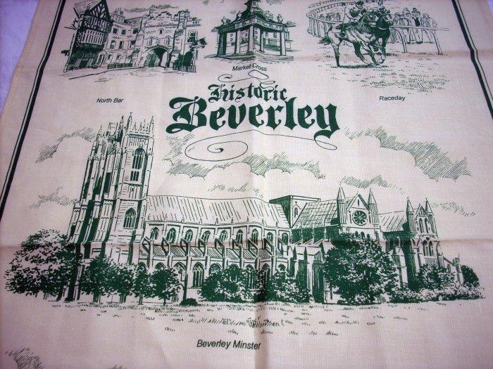 Historic Beverley souvenir towel unused vintage 1328vf
