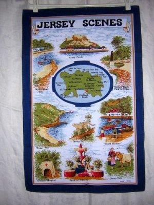 Jersey Scenes souvenir towel Clive Mayor design colorful unused vintage 1329vf