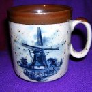 Delft stoneware mug with windmill hand decorated Holland vintage 1334vf