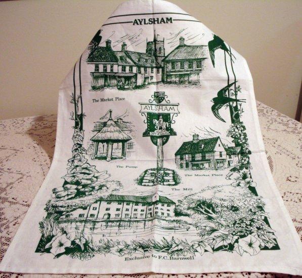 Aylsham England souvenir cotton towel unused vintage F C Barnwell 1335vf