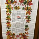 Canada 2004 calendar souvenir towel maple leaves hanging loop unused 1339vf