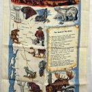 Alaska Highway souvenir linen towel animals map midnight sun Alcan vintage1344vf