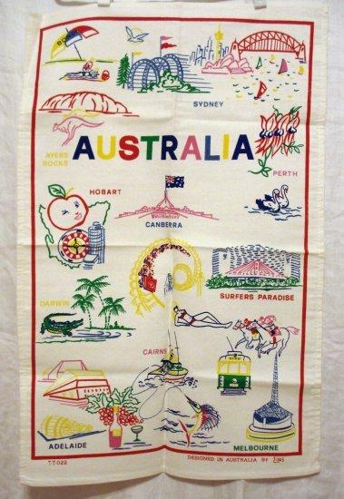 Australia is for fun cotton souvenir tea towel colorful line illustrations unused vintage 1356vf