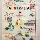 Australia is for fun cotton souvenir tea towel colorful line illustrations unused vintage 1356vf