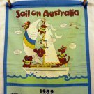 Sail On Australia 1989 calendar cotton towel vintage souvenir linens 1365vf