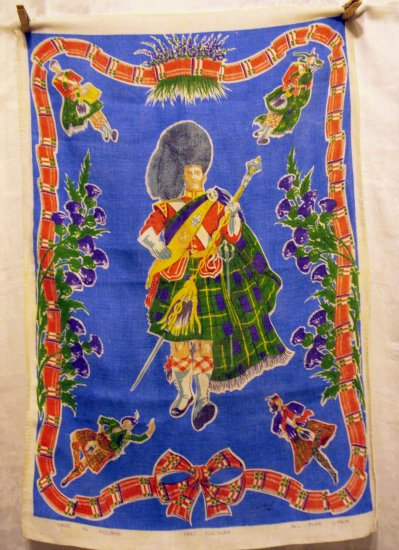 Scottish piper all linen souvenir towel tartan plaid heather thistle vintage1373vf