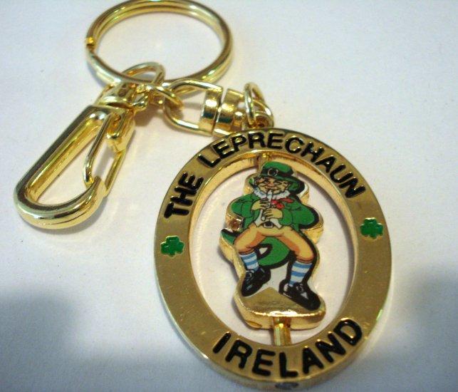 The Leprechaun Ireland spinner souvenir key ring purse clip gold plated unused unisex 1377vf